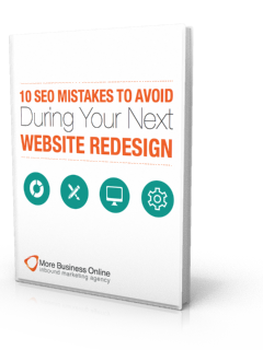 A cover image of our free eBook: 10 SEO Mistakes Avoid Next Website Redesign