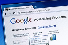 A screen shot showing google advertising