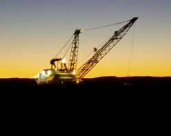 A dragline at sunset. Quite symbolic as sun sets over Australia's mining boom