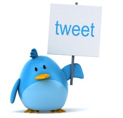 A bluebird holding a sign which says tweet