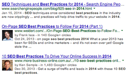 An extract from Google's search engine results page (SERP)